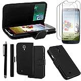 ebestStar - Etui Samsung Galaxy S4 i9500 i9505 - Housse Coque Etui Portefeuille Support PU Cuir + Stylet tactile + 3 Films protection écran, Couleur Noir [Dimensions PRECISES de votre appareil : 136.6 x 69.8 x 7.9 mm, écran 5'']