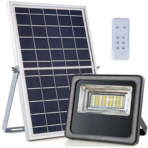 30W 1000 Lumen LED Solar Strahler mit RF Fernbedienung Tag Nacht Automatische Induktion Einstellbare zweifarbige Temperatur IP66 wasserdicht Outdoor Solar Sicherheitslicht für Garten Rasen Bauernhof