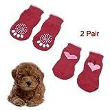 TOOGOO(R) 2 Paar Groesse L Anti Slip Bottom Haustier Hund Hunde Welpen Socken Rot Rosa