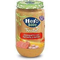 Hero Baby Ternera Jamón Espagueti con Trocitos, Tarrito de Cristal - 235 gr