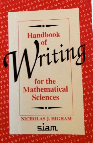 Handbook of Writing for the Mathematical Sciences by Nicholas J. Higham (1993-06-01)