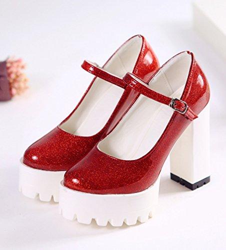 YE Damen Blockabsatz High Heels Lackleder Plateau mit Riemchen und Schnalle Modern Schuhe Rot