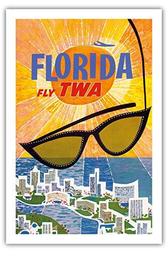 Florida Vintage Anzeigen (Florida - Flieg TWA (Trans World Airlines) - Vintage Retro Fluggesellschaft Reise Plakat Poster von David Klein c.1955 - Premium 290gsm Giclée Kunstdruck - 61cm x 91cm)