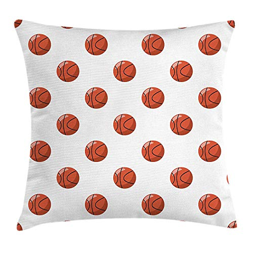 Trsdshorts Basketball Throw Pillow Cushion Cover, Cartoon Classical Balls Competition Scoring Professional Tournament, Decorative Square Accent Pillow Case, 18 X 18 Inches, Cinnamon Black White