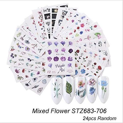 LIXIAQ1 24 Pegatinas uñas diseño Hojas Flores Mariposas