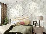 ZPXLGW Modern Einfach 3D-Perspektive Dick Vliesstoffe Tapeten Mosaik Wohnzimmer TV Hintergrund Tapeten Schlafzimmer Bett 0 53 M (20 8 ') X 10 M (393') = 5 3 M2 (57 Sq Ft),PearlWhite