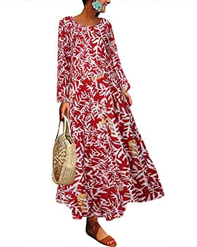 Kidsform Robe Maxi Fleurie Femme Robe Longue Imprimé Boheme Floral Dress Maternité Grossesse Large Manche Longue Décontracté Pas Cher C-Rouge XL