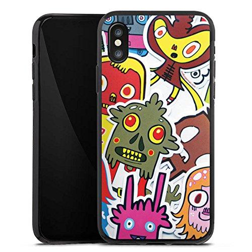 Apple iPhone X Silikon Hülle Case Schutzhülle Sticker Muster 90s Silikon Case schwarz
