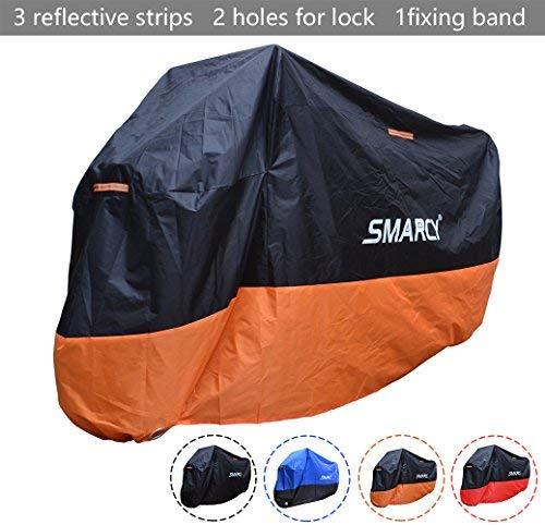 Smarcy Telo Coprimoto Impermeabile Antipolvere, Copertura per Moto Portatile, Nero / Arancio, Taglia XL