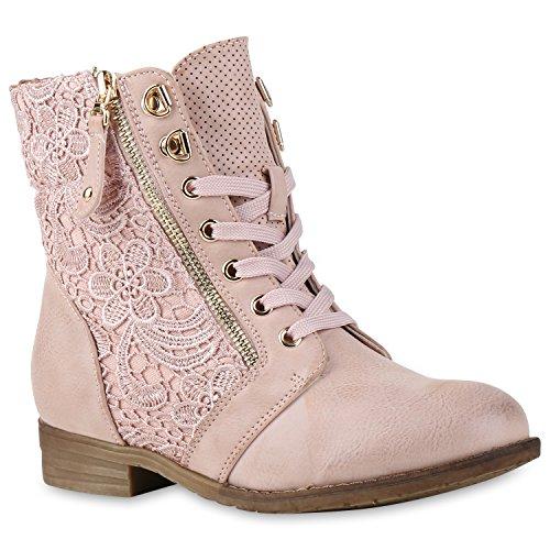 Damen Stiefeletten Boots Schnürstiefel Spitze Used Look Schuhe Rosa