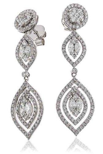 2, 80CT certificado g/VS2 diamante de corte brillante redondo en pendientes de gota de la Marquesa 18 K oro blanco