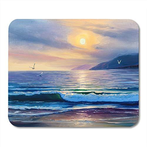 Luancrop Mauspads Blauer Künstler-Morgen auf Seewellen-Malerei Malt Leinwand-Mausunterlage für Notizbücher, Tischrechnermatten Bürozubehöre (Leinwand Malt)