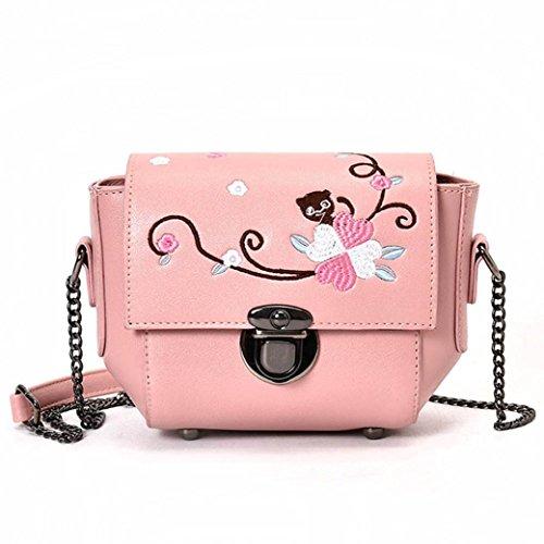"""Borsa donne , feiXIANG Ragazze donne retrò femminile semplice sacchetto floreale crossbody spalla borsa borsetta,cuoio del PU, 19cm (L)/15cm (H)/8cm (W) (7.5 """"/5.9""""/3.1 """") (Rosa) Rosa"""