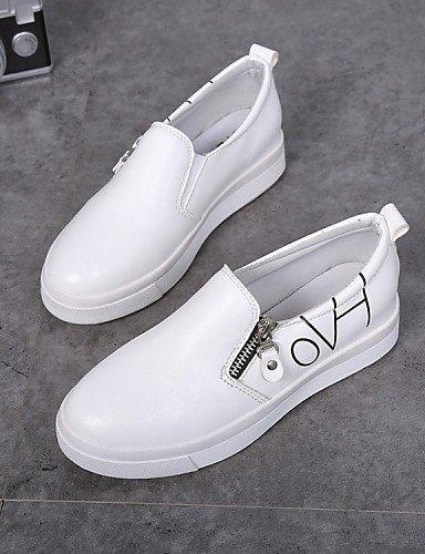 ZQ gyht Scarpe Donna-Sneakers alla moda-Tempo libero / Formale / Casual-Comoda-Piatto-Finta pelle-Nero / Bianco , white-us8 / eu39 / uk6 / cn39 , white-us8 / eu39 / uk6 / cn39 black-us7.5 / eu38 / uk5.5 / cn38