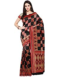 Women's Tassar Silk Traditional Saree Unstitched Blouse Design (BLACK BEAUTY_Black)