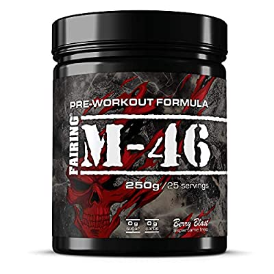 M-46 Pre Workout and Nitric Oxide Pump Powder Drink - Vegan Formula with Creatine Malate, Beta-Alanine, L-tyrosine, Caffeine for Gym Muscle Performance 250 gr by Fairing