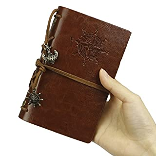 Leather Writing Journal Notebook, ANGGO Vintage Notepad Handmade Refillable Sketchbook Traveler's Notebook Notepad for Diary Gift (Brown)