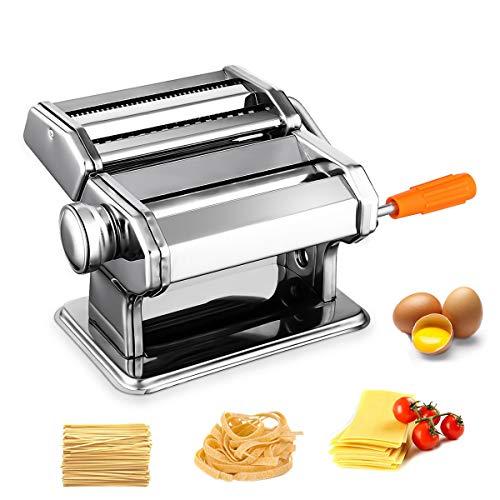 Nudelmaschine Pasta Maker Edelstahl Manuell Pastamaschine Einstellbar Nudel Walze Maschine mit Cutter für Frische Spaghetti Tagliatelle Fettuccine und Lasagne etc - 2 in 1 Küche Nudelmaschinen, Silber -