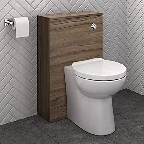 500mm Walnut Back To Wall WC Unit Cabinet Bathroom Furniture + Curved Toilet