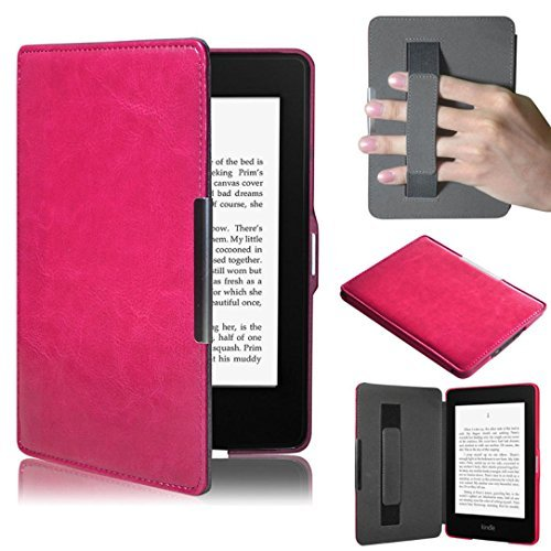 Toopoot(Tm) Premiu Ultra Slim Leather Smart Case Cover For New Amazon Kindle Paperwhite 5 (Hot Pink)