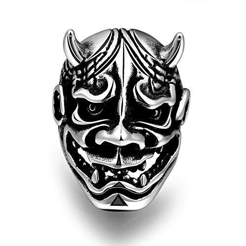 ZMlWToer Punk M?nner Maya Edelstahl Cattle Teufel Ring Maske, Schwarz-Silber