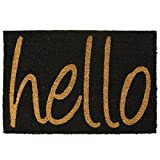 Front Welcome Door Coir Mat - Absorbent Non Slip Coco Doormat - Entrance Coconut Matting in Many Designs with Rubber Backing - 60x40cm - Rug by ASAB - Hello Black
