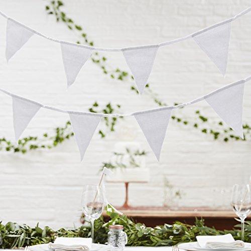 Ginger Ray weiß doppelseitig Stoff 5Meter Hochzeit oder Party Wimpelkette Dekoration?Schöne Botanics -