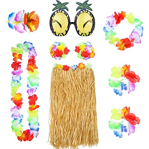 Themed Indian Kostüm - REYOK 8Pcs Hula Grass Skirt with Flower Leis Costume Set,Hawaiian Hula Grass Rock Set mit Halskette Armbänder Stirnband Blume BH Haarspange und Ananas Sonnenbrille Party Dekoration