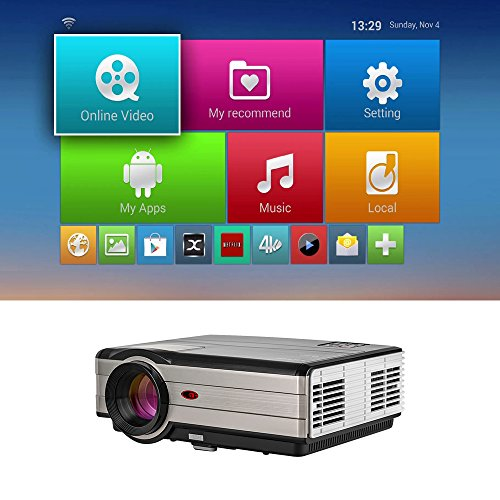 CAIWEI Projector Home Cinema Android Wifi 3000 Lumens 3500:1 LED LCD 1024X...