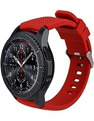 Gear S3 Armband, iBazal Gear S3 Frontier/ Classic Uhrenarmband Soft Silikon Uhr Band Sport Band Mode Armbanduhr Sport Ersatzband mit Klassischem Rostfreiem Stahlverschluss für Samsung Gear S3 Frontier/ Classic - Silikon - Rot