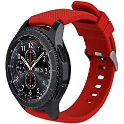 iBazal 22mm Bracelets Silicone Sport Watch Bandes Compatible avec Samsung Gear S3 Frontier Classic,Galaxy Watch 46mm Remplacement pour Huawei GT/Honor Magic/2 Classic,TicWatch Pro Homme Montre - Rouge