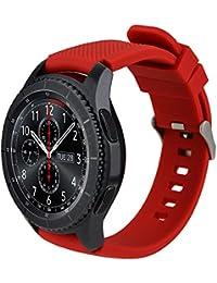 iBazal 22mm Correa Silicona Pulseras Bandas Compatible con Samsung Galaxy Watch 46mm,Gear S3 Frontier Classic,Huawei GT/2 Classic/Honor Magic,Ticwatch Pro Hombres Mujeres (Reloj No Incluido) - Rojo