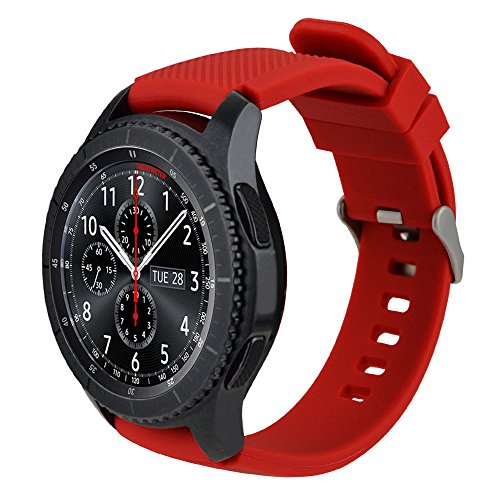 iBazal 22mm Armband Silikon Uhrenarmband Silikonarmband Armbänder Bands Ersatz für Galaxy Watch 46mm, Gear S3 Frontier/Classic,Huawei GT/2 Classic/Honor Magic,Ticwatch Pro Herren Uhrarmband - Rot - Für Uhrenarmband Notifier Martian