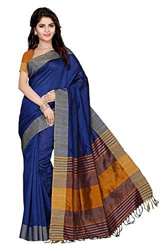 Rani Saahiba Art Silk Saree With Blouse Piece (PRG9_Blue-Mustard_One Size)