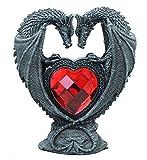Drachen-Figur mit rotem Herz Dekofigur Liebespaar Drache Gothic Mystery