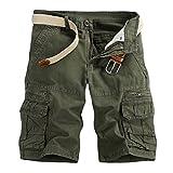 TEBAISE Pants Pure Color Shorts Herren Outdoor Taschen Strand Arbeit Hosen Cargo Pant 3/4 Herren Cargo Short Hose (Armee grün,36)
