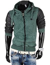 Tazzio pull à capuche pour homme style biker veste sweat-shirt à capuche zippé