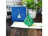 kelaina Dedicated Grußkarte Weihnachten 3D Pop up Weihnachtsbaum Einladung Karte mit Umschlag (blau)