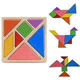 Vaycally Tangram Holzpuzzles Lernspiele ab 2 3 4 5 6 Jahre Geburtstag Junge Geschenk Puzzle Holz Spielzeug