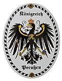 Königreich Preußen Emaille Schild 11,5 x 15 cm Emailschild Oval.