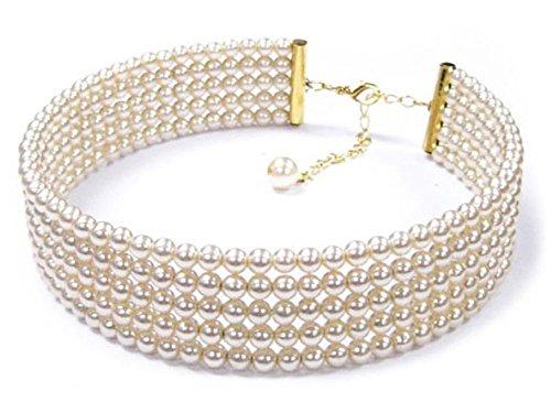 Collana girocollo rigida, in metallo dorato e perline, motivo: sfere, colore: avorio, 5 file, matrimoni, gioielli donna