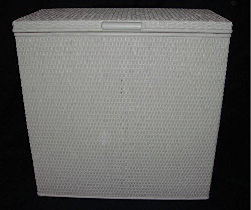 Wäschekorb 3 Fach Sortierer aus Rattan weiß mit drei Fächern