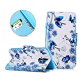XinLuo Huawei Mate 10 Lite Handyhülle, Blumen Schmetterlinge PU Ledertasche Hülle Falten Book Design Taschehülle Kartenfächern und Standfunktion Handy Schutzhülle für Huawei Mate 10 Lite (5.9 Zoll)