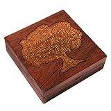 Hashcart - Joyero de Madera con Incrustaciones de latón Tallado a Mano, 15,2 x 15,2 cm