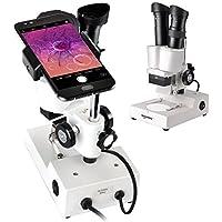 Solomark - Microscopio Estéreo de Laboratorio de Ciencia Binocular (Alcance 3D, 20 aumentos DE 40 aumentos, WF10 x 20 oculares y Captura la Belleza en el microWord con Adaptador para Smartphone)