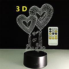 Idea Regalo - ATD® I LOVE YOU Doppio cuore 3D Illusione ottica 15 chiavi a tasto di tocco Colorful notte della luce bel regalo per Fidanzata,Fidanzato,Amante,Moglie