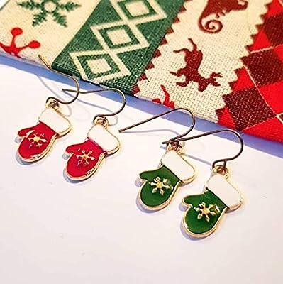 Boucles d'oreille Noël - Moufle Gant Flocon de neige - Rouge ou Vert - Secret santa - soirée réveillon 24 25 décembre Ugly Sweater - idée cadeau collègue femme - bijoux fillette jeune fille