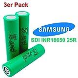 3x Samsung SDI INR18650-25R - Akku - 3.7V - 2500mAh - 20A - Ideal für E-Zigaretten Werkzeug E-Bike Taschenlampen Modellbau