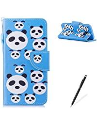 MAGQI Samasung Galaxy S7 PU Premium Leather Phone Cases, Flowers Panda Unicorn Cartoon Pattern Design Cover and [Scratch Proof] Flexible For Samasung Galaxy S7 Flip Wallet Shell-Cute Panda