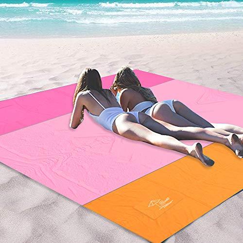 OCOOPA 200 x 200 cm XL Stranddecke, Sandfreie Picknickdecke Campingdecke Strandtuch, aus Weiches Nylon mit Tasche, Wasserdicht, Schnell Trocknend, Ultraleicht, Tragbar, Rosa -